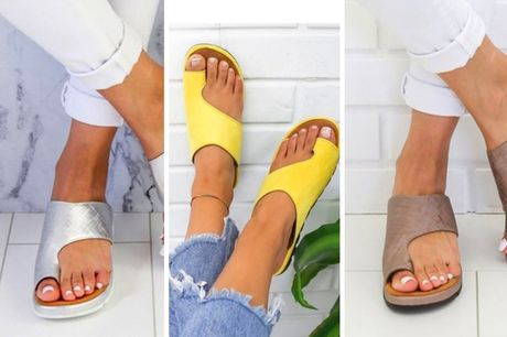 £11.99 instead of £29.99 for a pair of bunion supporting sandals in yellow, purple, black, gold, silver, khaki or leopard from Pinkpree – save 60%