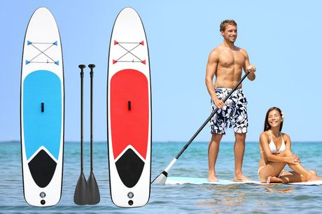£259 for a two-person paddleboard in Red or Blue with two paddles, hand pump, repair kit and backpack