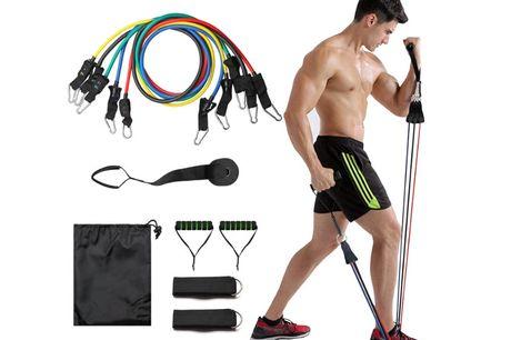 Komplet træningssæt med alt hvad du behøver til din daglige hjemmetræning, 11 dele. Her får du en super effektiv 'træningsmaskine', som snildt kan erstatte de fleste maskiner i et fitnesscenter! Elastikker med håndtag giver mange muligheder for at træne h