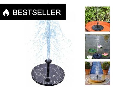 Hyggeligt solcelle springvand helt uden ledninger eller tilkoblinger. Hyggeligt solcelle springvand, hvor det hele er bygget sammen i én enhed. Bare søsæt det og vent på, at solen skinner. Brug det i haven, i dammen eller i et større fuglebad -   Solcell