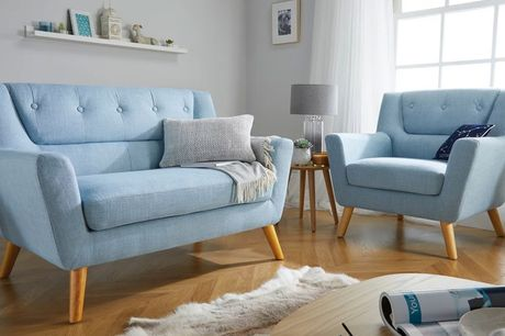 £265 instead of £479.99 for a retro-inspired armchair, £365 for a matching two-seater sofa, £435 for a three-seater sofa or £999 for the full set from FTA Furnishing - choose from two colours and save up to 45%