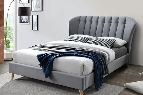 """From £415 instead of £779.99 for a luxurious pleated and winged bed frame in small double to king size, from £549 to include a 6"""" memory foam mattress from FTA Furnishing - save up to 47%"""
