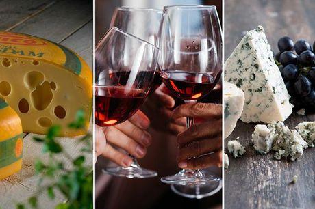 Afhent delikate oste og 2 fl. vin - for 4  Menuen består af: 200g Maasdam, 200g Øko Fyrmester 5 års, 200g Brie Maubert, 200g Danablue 50+, 1 fl Calusari Pinot Noir Rødvin, og 1 fl Calusari Pinot Grigio Hvidvin.