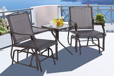 £159 instead of £399 for a steel frame set of two grey rocking chairs and table set from MH Star - save 60%