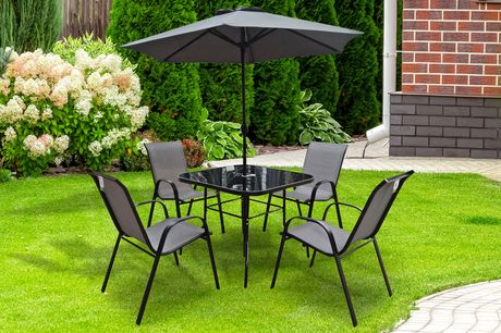 £269 instead of £495 for a The Lancaster black and grey four-seater garden furniture table and chairs set with parasol from Outdoor Living - save 46%