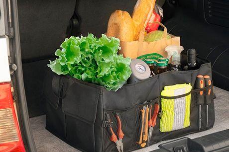 Sammenklappelig organiser til bagagerum i bilen. En organiser til opbevaring i bagagerummet med 2 hanke til nem transport, 3 primære rum, og forskellige former for lommer, gitre og elastiske bånd Perfekt til opbevaring og transport af mange genstande, sås