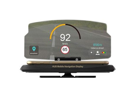 Universal Head Up Display (HUD) Mobilholder til Bil. Dette smarte head up display er den perfekte mobilholder til bilen, det gør at du kan køre og samtidig følge ruten på telefonen Head up display afspejler GPS billedet meget klart og kan også anvendes om
