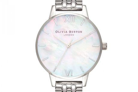 """Olivia Burton Mother Of Pearl White Bracelet Silver. Dette smukke Olivia Burton er en del af """"Mother of Pearl"""" kollektionen fra 2018. Serien er lavet med perlemor urskiver, der giver et utrolig flot og elegnat udtryk til uret. Olivia Burton er kendt for a"""