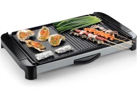 Grelhador Elétrico Grill com 2 Placas, Regulador de Temperatura e Gaveta Recolhe-Gotas por 46€. PORTES INCLUIDOS.