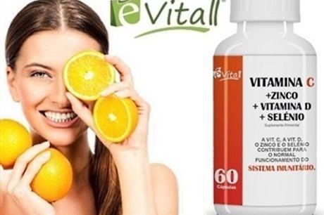 VITAMINA C + ZINCO + VITAMINA D3 + SELÉNIO 60 CÁPSULAS da é-Vitall: Frasco de Comprimidos para 60 Dias por 13.50€. Fortalece o Sistema Imunológico. PORTES INCLUÍDOS. ENVIO IMEDIATO!