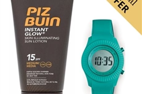 Oferta Especial | Pack Protetor Solar Instant Glow Piz Buin 15 SPF 150ml e Relógio Digital Extreme Collection® Ice Lolly por 17.82€ PORTES INCLUÍDOS