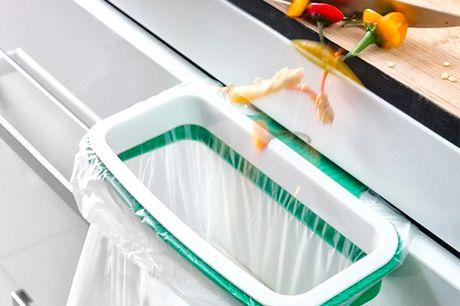 Skraldeposeholder. Det er en praktisk opfindelse til at holde skraldeposer og at sætte dem fast på skuffer og skabe i køkkenet på nem og behagelig vis, så det er meget nemmere at smide skraldet ud   Specifikationer:   Lavet af PP  Moderne og funktionel