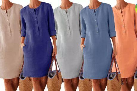 Elegant lang kjole i komfortabelt bomuldslinned - vælg mellem 7 farver