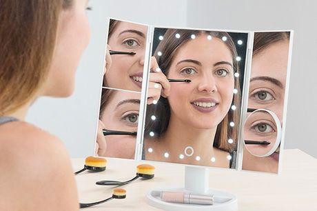 4 i 1 LED forstørrelsesglas spejl. Det er et meget nyttigt og praktisk spejl til bordpladen, som du kan bruge når du skal lægge make-up, sætte håret, plukke hår, osv. med den maksimale præcisering   Specifikationer:   Lavet afABS  Foldbar, moderne og