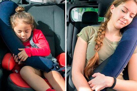 Oppustelig rejsepude.  94 x 24 cm Puden kan anvendes af både børn og voksne og kan sættes i nakken eller anvendes som blød sidestøtte.
