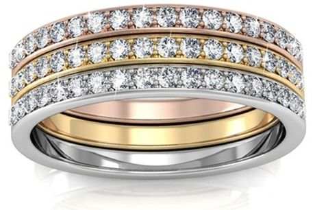 Set van 3 Trinity-ringen gemaakt met Swarovski®-kristallen