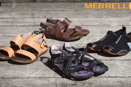 Restsalg: Sandaler og sko fra Merrell. Nyd sommeren uden ondt i fødderne – MEGET FÅ TIL SALG!  Inkl. fragt!