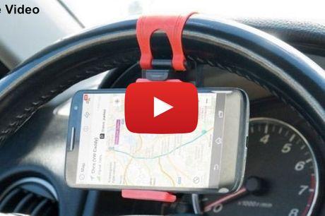 Praktisk og sikker mobilholder til rattet i bilen