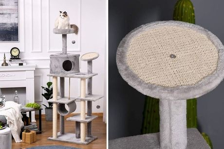 £59 instead of £95.99 for a Playful Grey Cat Tree Tower  from Mhstar Uk Ltd - save 39%