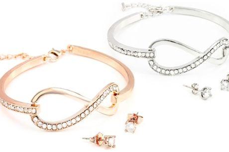 Conjunto de pulsera y pendientes con símbolo del infinito decorados con cristales de Swarovski®