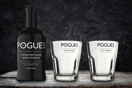 £22 for a 70cl bottle of The Pogues Irish Whiskey from Salder's Peaky Blinder Distillery including two The Pogues branded shot glasses.