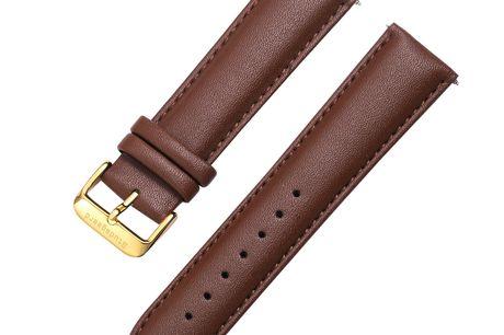 Brun Studsgaard læderrem 20 mm. med guldspænde