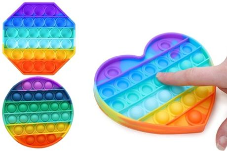 One, Two or Three Push Pop It Rainbow Shapes Stress Relief Fidget Toys