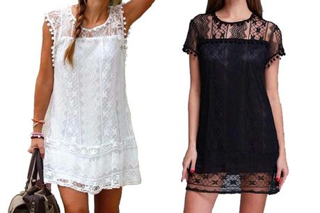 £9.98 instead of £29.99 for a women's pom-pom lace dress from Boni Caro - save 67%