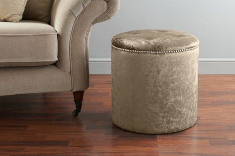 £75 instead of £219.99 for a buttoned round crushed velvet pouffe in black, champagne, cream, gold, grey, pink, silver, or white from Serenity Designs- save 66%