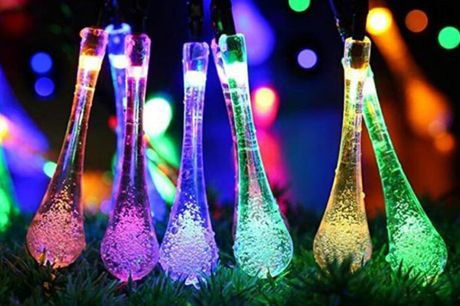 £9.99 instead of £29.99 for a solar powered water drop string light in white, warm white or colourful from Huundo-P - save 67%
