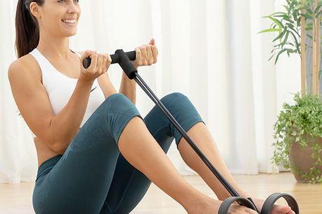 Multifunktionelle træningseleastikker med vejledning. Træningselastikker, som er perfekte til at komme i form med hele kroppen ved at træne et hav af øvelser (skuldre, ben, talje, mave, balder osv.)   Dette omfattende og multifunktionelle træningssystem