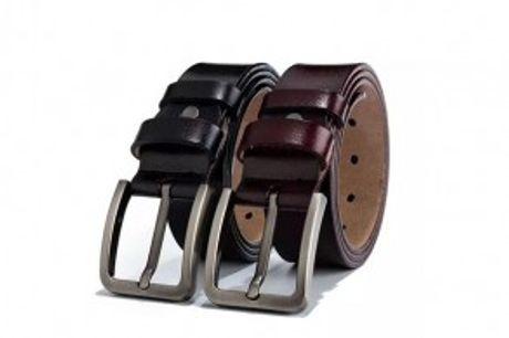 Flot Læderbælte.  Flot læderbælte med kraftigtpin-spænde, som giver detmaskulint look.