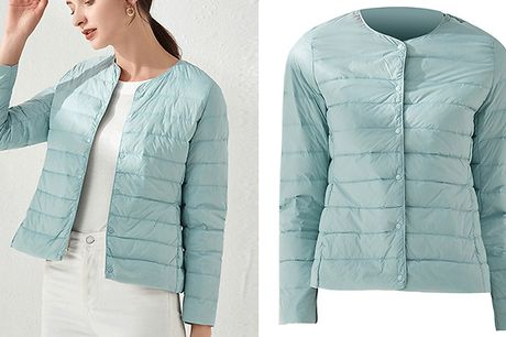 Women's Collarless Lightweight Puffer Jacket - 3 Colours & Sizes. Stay dry and look stylish in this Women's Collarless Lightweight Puffer Jacket     Available in women' sizes S, M and L     This lightweight puffer jacket will keep the rain off without o