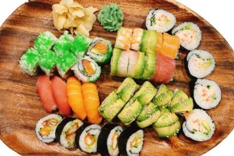 Sushi Love Menu med 38 stykker: 4 Nigiri, 16 Special toppet maki, 8 alaska ruller, 10 futomaki