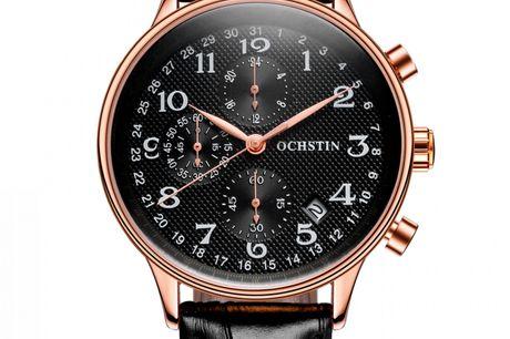 Ochstin Chronograph Black/Rose Gold. Ochstin er et brand, hvor du får rigtig meget ur for pengene. Du betaler kun for uret og ikke for brand værdi, hvilket gør det ideelt for dig, der leder efter et rigtig godt køb. Priserne er lave, men kvaliteten er i t