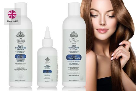 £7.99 instead of £23.99 for a 'hair thickening' serum, £12.99 for a 'hair thickening' shampoo and conditioner set, or £18.99 for all three