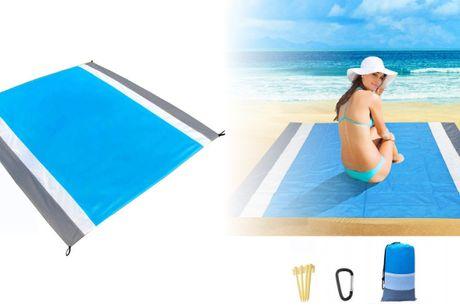 Smart hurtigtørrende og sandfrit strandtæppe - med plads til 4-7 voksne!