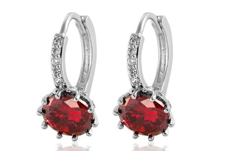 £6.99 instead of £49.99 for a pair of red cubic zirconia huggie hoops from Gemnations - save 86%