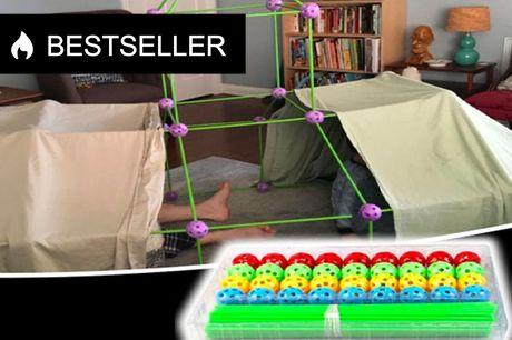 Hule byggesæt - Byg din egen hule Sættet er lavet, så børn let kan samle og skille det ad igen. Byg fx. et slot, en iglo eller et kæmpe hus  Specifikationer:  - Sættet indeholder 36 samlebolde og 51 stænger - Robust og holdbart design - Godt alternativ ti