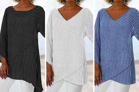 £8.98 instead of £29.99 for a women's striped V-neck loose blouse from Domo Secret - find relaxed summer style and save 70%
