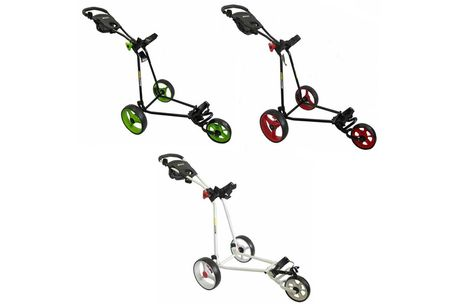 £69.99 for a Bullet Cruiser 5000 three-wheel foldable golf trolley in lime and black, red and black or white from Eurotrade!