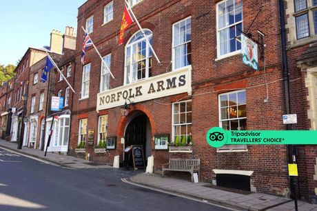 An Arundel, West Sussex stay at Norfolk Arms Hotel for two people with two-course dinner and full English breakfast. From £109 for an overnight stay, or from £169 for a two-night stay with dinner on first night - save up to 33%