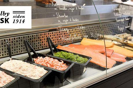Frit valg for 250,- hos topanmeldt fiskehandler.  Valby: Valby Fisk Frit valg til alt hos Valby Fisk på Valby Langgade – Få alt fra laks til rejer, fiskefrikadeller, blinis, stenbiderrogn og østers. Værdibeviset har en værdi af 250 kr. Køb ét eller flere
