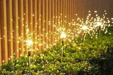 Solcelle firework lys 2pk    Lader op om dagen og lyser når det er blevet mørkt    Lampen stikkes blot i jorden som et spyd - Derefter kører alt automatisk    Specifikationer:  Giver en flot hyggelig belysning Udelukkende drevet af solceller Tænder og