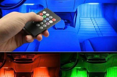 LED lys til bil - Få det flotteste lys i bilen. Få det flotteste lys i bilen med led lys til bilen Med et klik på fjernbetjeningen kan du sætte lyset til at skifte farve i takt til musikken.  Lyset at let at styre med den medfølgende fjernbetjening og lys