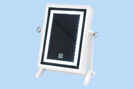 Sieradenkast met spiegel en licht Berg je sieraden overzichtelijk op<br /> Tafelmodel | Afmetingen: 23 x 36 cm<br /> 40 LED lampjes