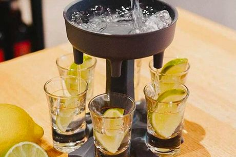 £6.99 instead of £14.99 for a shot glass holder and dispenser, £9.99 for a holder and dispenser with six shot glasses from Wishwhooshoffers - save up to 53%