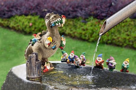 £7.99 instead of £19.99 for a set of seven gnomes, £12.99 for a dinosaur eating a gnome figurine, or £19.99 for a dinosaur eating a gnome with seven figurines from Forefront - save 60%