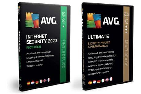 Software AVG Internet Security por 1 año para 1 dispositivo o AVG Ultimate por 1 o 2 años para hasta 10 dispositivos
