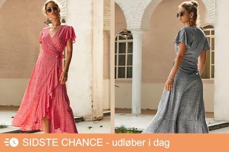 Sommerlig slå-om-kjole. Det klassiske snit, der klæder alle – Gratis fragt!